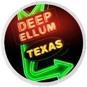 Deep Ellum Red Glow Round Beach Towel