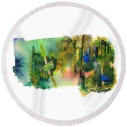 Deep Forest Song Round Beach Towel