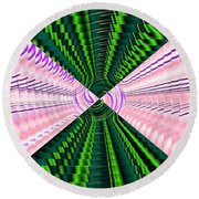 Deep Green And Pink Round Beach Towel
