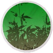 Deep Green Haiku Round Beach Towel