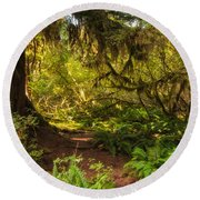 Deep Into The Hoh Rain Forest Round Beach Towel