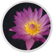 Deep Pink And Yellow... Round Beach Towel