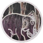 Deep Purple Elephant Painting In The Forest. Round Beach Towel