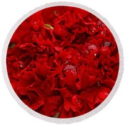 Deep Red Carnation Round Beach Towel