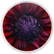 Deep Red To Purple Dahlia Flower Round Beach Towel