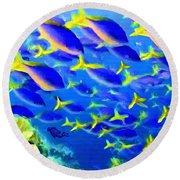 Deep Sea Fish And Diver Round Beach Towel