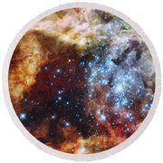 Deep Space Fire And Ice  Round Beach Towel