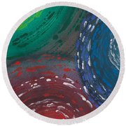 Deepen Abstract Shapes Round Beach Towel