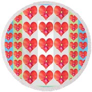 Deeply In Love Cherryhill Flower Petal Based Sweet Heart Pattern Colormania Graphics Round Beach Towel