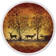 Deer At Sunset On Damask Round Beach Towel