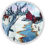 Deer At The Grist Mill Round Beach Towel