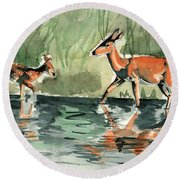 Deer At The River Round Beach Towel