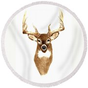 Deer - Front View Round Beach Towel