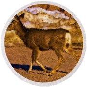 Deer In A Different Light Round Beach Towel