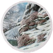 Deer In A Snowy Landscape Round Beach Towel