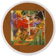 Deer In The Forest 1913 Round Beach Towel