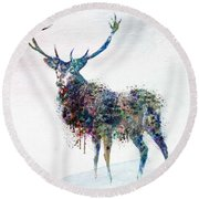 Deer In Watercolor Round Beach Towel