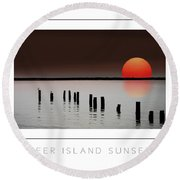 Deer Island Sunset Poster Round Beach Towel