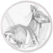 Deer Lying Down Drawing Round Beach Towel