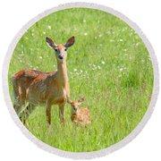 Deer Me Round Beach Towel