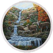 Deer Painting - Tranquil Deer Cove Round Beach Towel by Crista Forest