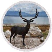 Deer Statute On Antelope Island  Round Beach Towel