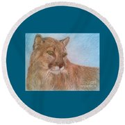 Deer Tiger Round Beach Towel