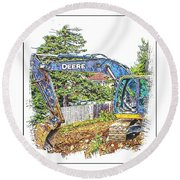 Deere For Hire2 - Excavator - Digger Round Beach Towel