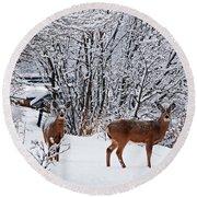 Deers In Winter Round Beach Towel