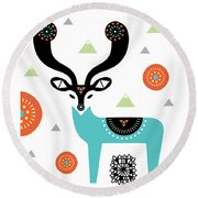 Deery Mountain Round Beach Towel