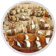 Defeat Of The Spanish Armada 1588 Round Beach Towel