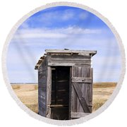 Defunct Outhouse At Rural Elementary School Round Beach Towel