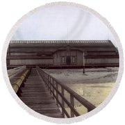 Del Monte Bathhouse From Pier California  Circa 1890 Round Beach Towel