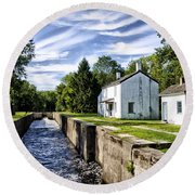 Delaware Canal Kingston New Jersey Round Beach Towel