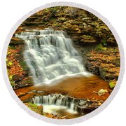 Delaware Falls - Ricketts Glen Round Beach Towel