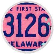 Delaware License Plate Round Beach Towel