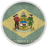 Delaware State Flag Round Beach Towel by Pixel Chimp