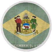 Delaware State Flag Round Beach Towel