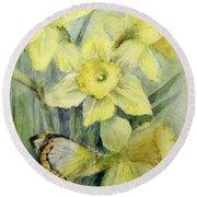Delias Mysis Union Jack Butterfly On Daffodils Round Beach Towel