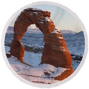 Delicate Arch With Snow Arches National Park Utah Round Beach Towel