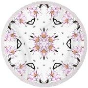 Delicate Cherry Blossom Fractal Kaleidoscope Round Beach Towel