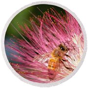 Delicate Embrace - Bee And Mimosa Round Beach Towel