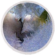 Delicate Ice - Digital Painting Effect Round Beach Towel