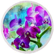 Delicate Orchids Round Beach Towel