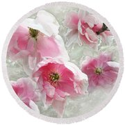 Delicate Tree Peonies Branching Out Round Beach Towel