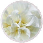 Delicate White Softness Round Beach Towel
