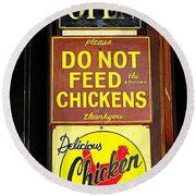 Delicious Chicken Dinners Sign Round Beach Towel