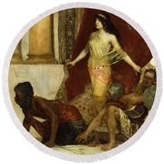 Delilah And The Philistines Round Beach Towel