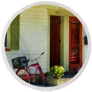 Delivery Bicycle By Two Red Doors Round Beach Towel