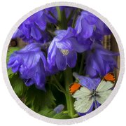 Delphinium And Butterfly Round Beach Towel